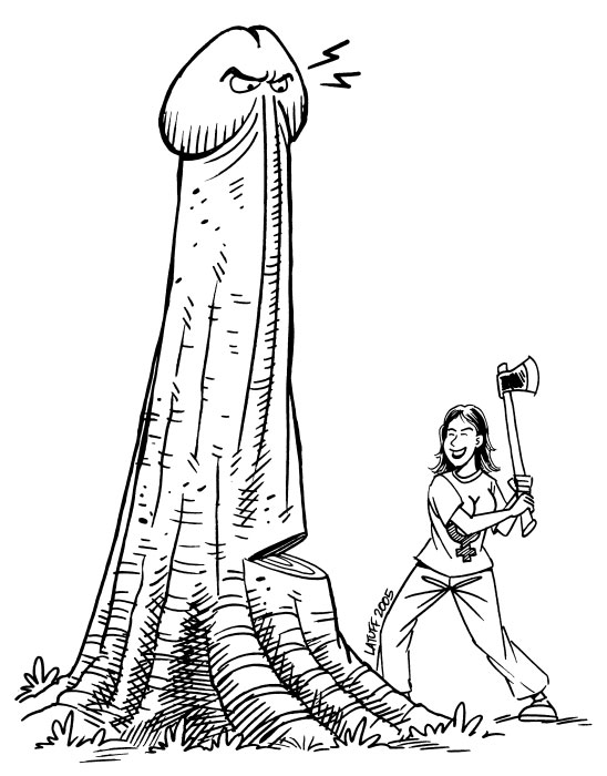 A woman cuts down a patriarchal penis tree thing.