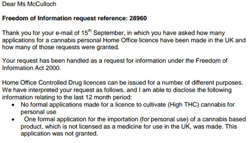FOI cannabis import request from Home Office