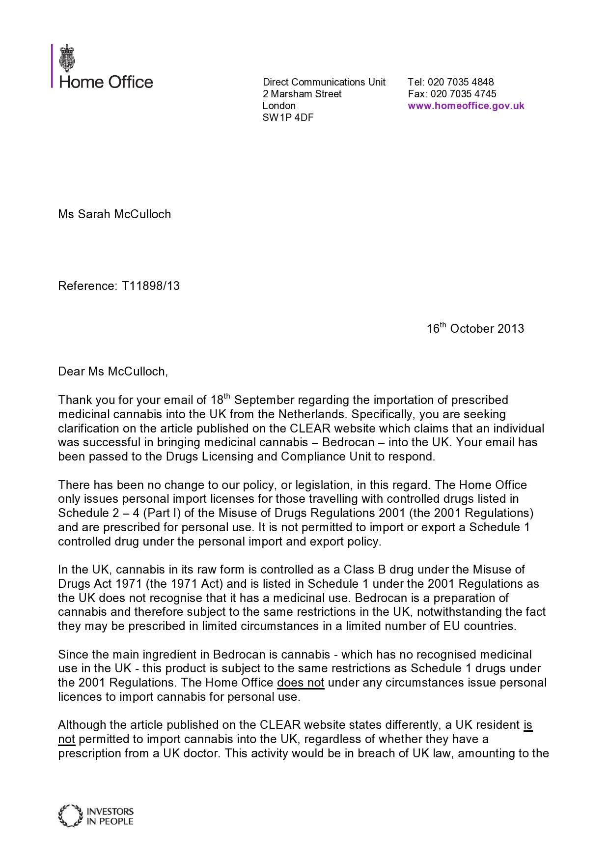 Letter from the Drug Licencing Unit from the Home Office re medical cannabis pt 2