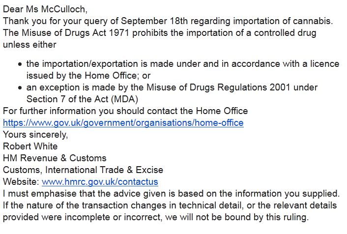 Email from Customs re import of cannabis.