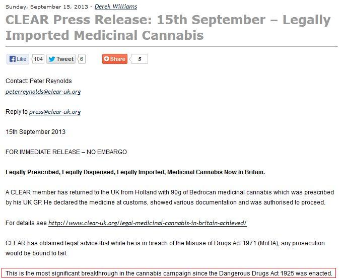 "CLEAR Press release - ""Legally Imported Medicinal Cannabis"""