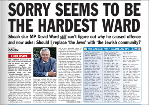 Jewish News article of David Ward Jews comment
